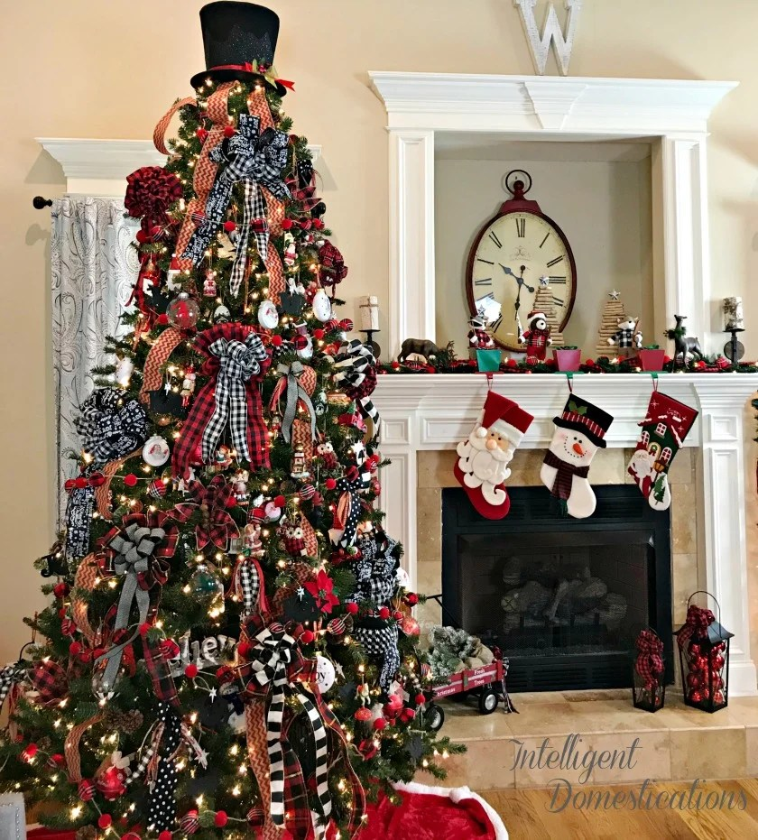 Christmas Tree Decorated with Ribbons and Bows in Plaid, Stripes, Polka dots and even chevron patterns