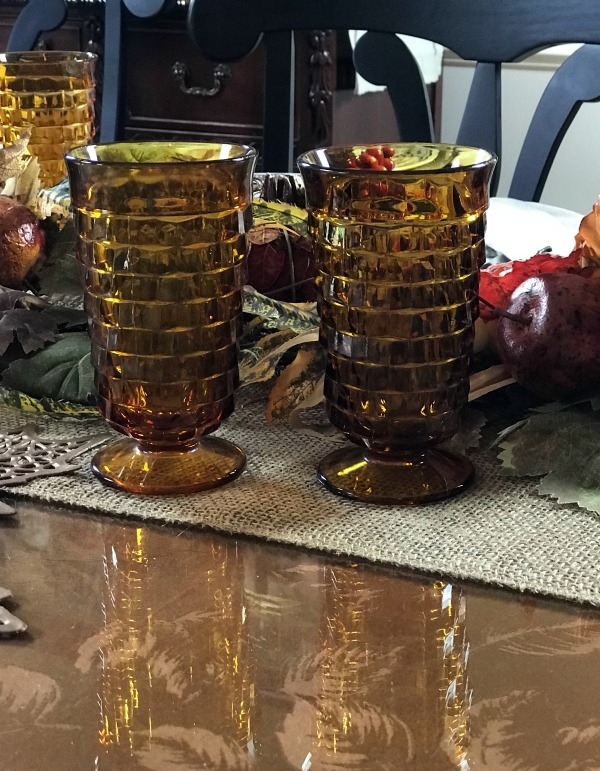 Vintage Amber glasses in a Thanksgiving Table setting