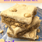 Made from scratch Peanut Butter Bars recipe with Peanuts in the mix. Recipe includes Homemade Peanut Butter Frosting. You can use the frosting recipe for other desserts too! #peanutbutterdessert #intellid