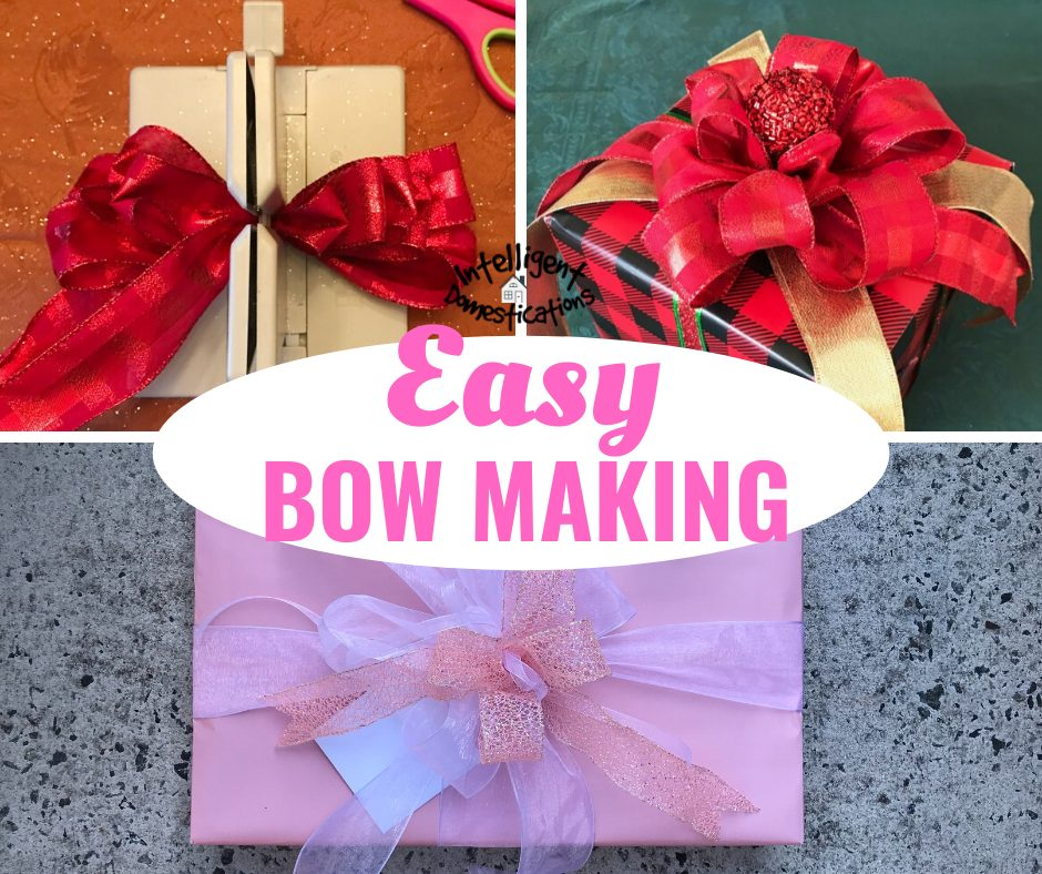 Photo of gifts wrapped in red and pink paper with pretty bows on top