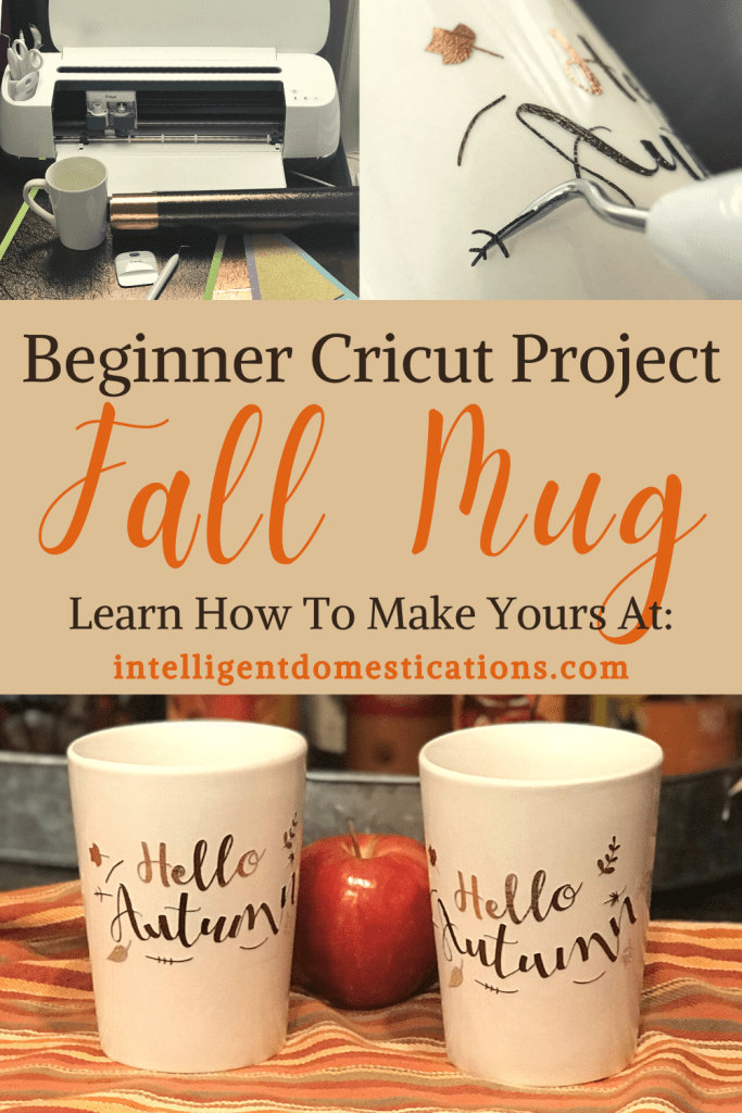 A Cricut maker machine and a set of Fall design mugs