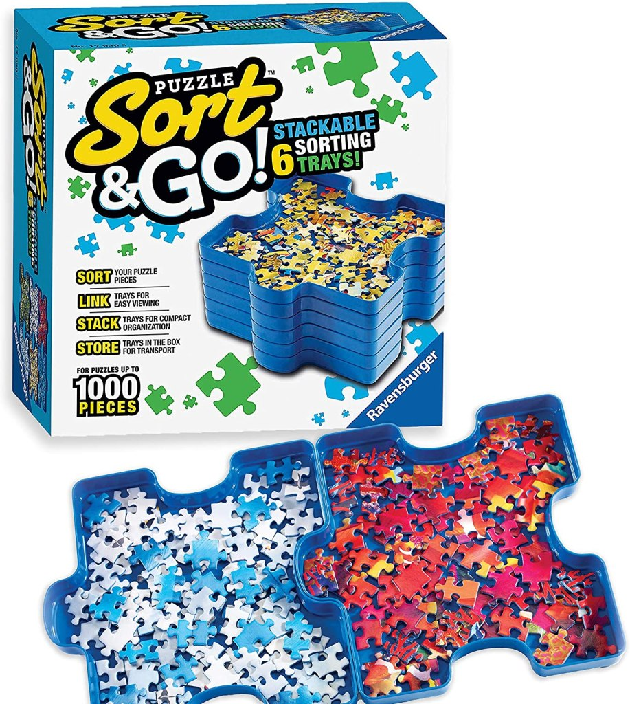 blue puzzle stacking trays
