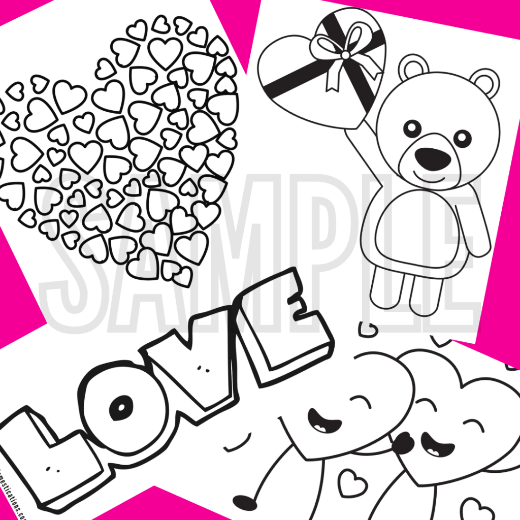 sample of Valentine's coloring pages