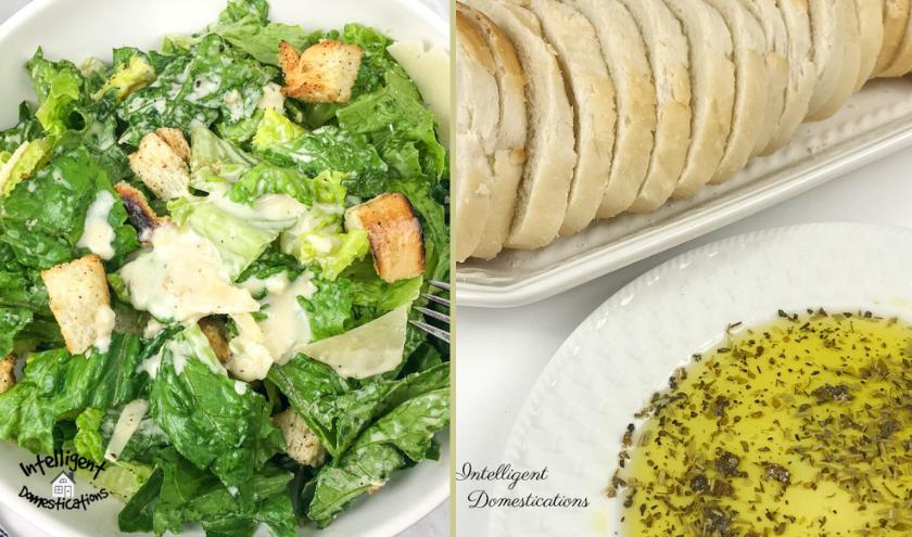 Caesar salad and Italian sliced bread and Italian butter