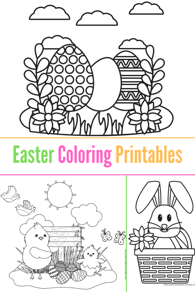 3 Easter scene coloring pages