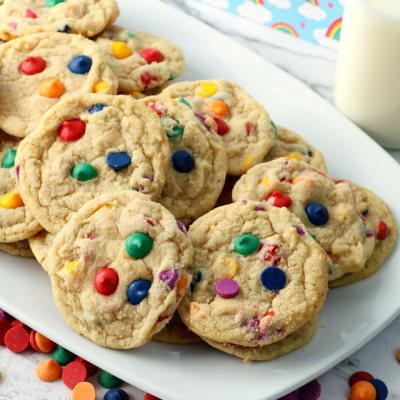 Rainbow-Chip-Cookies-on-a-white-plate