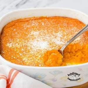 Carrot Soufflé in a casserole dish