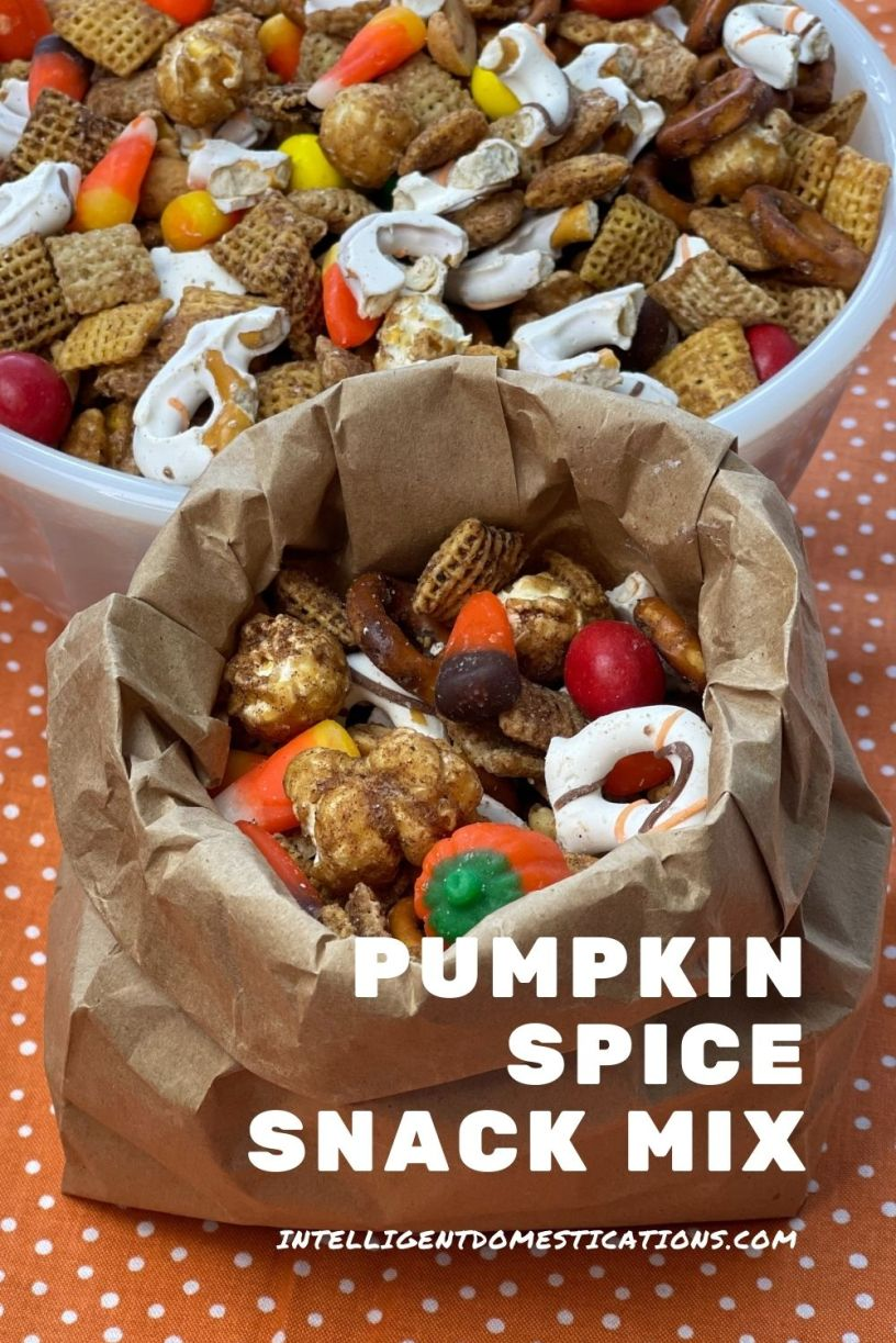 Pumpkin Spice Chex mix in a bowl and a paper bag