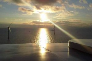 Sunrise in the North Sea at Global Tech 1windfarm