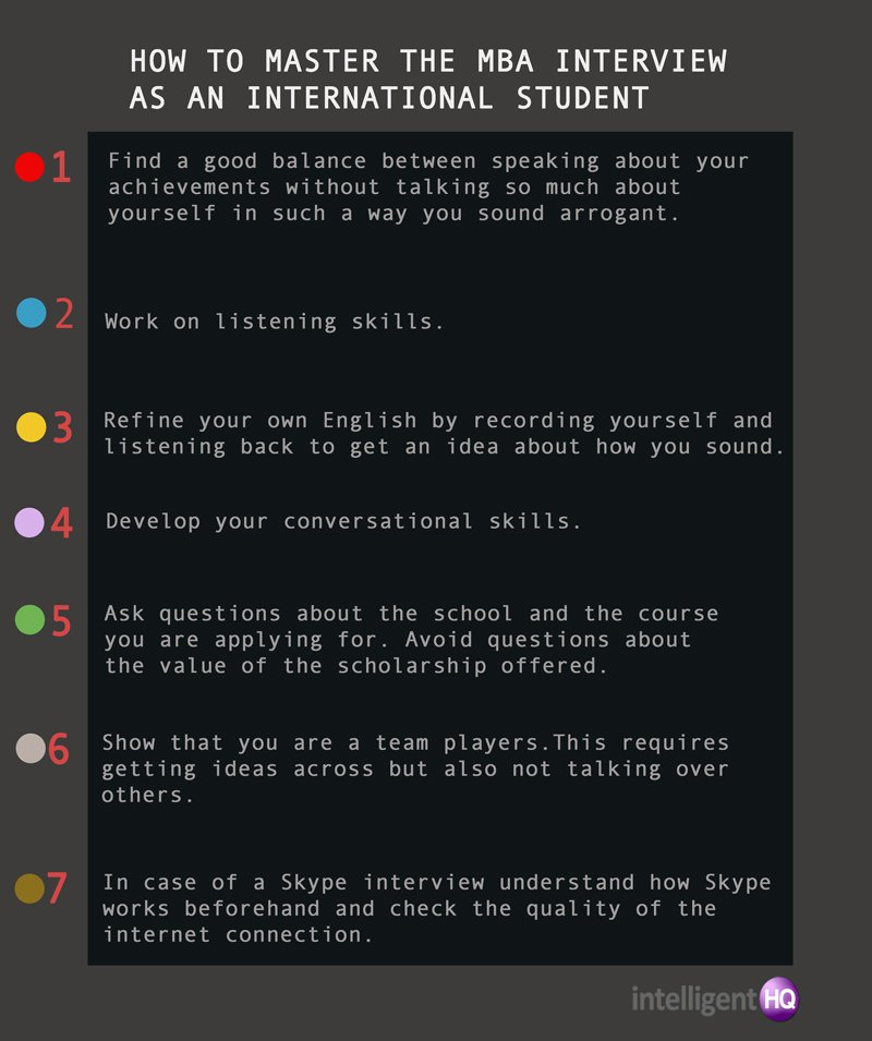 7 Tips on How To Master the MBA Interview as an International Candidate. Infographic by Intelligenthq