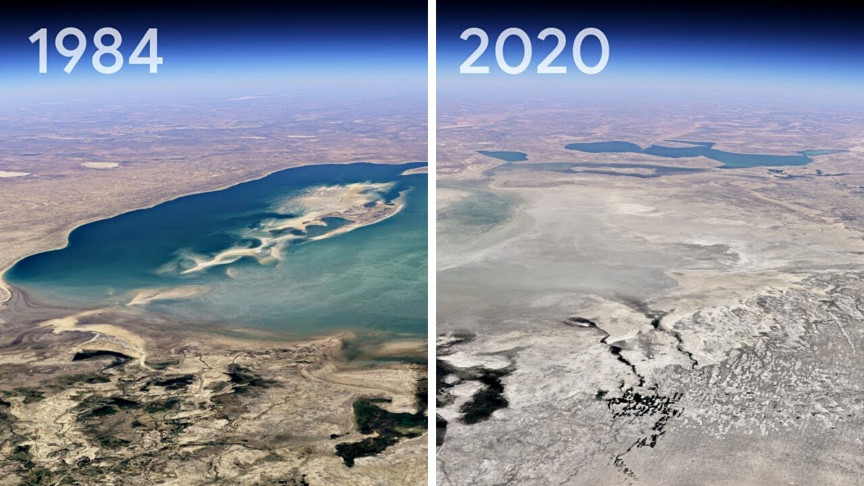 Google Earth shows almost 40 years of climate change