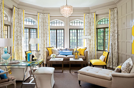 Traditional Home Living Room in Gray and Yellow