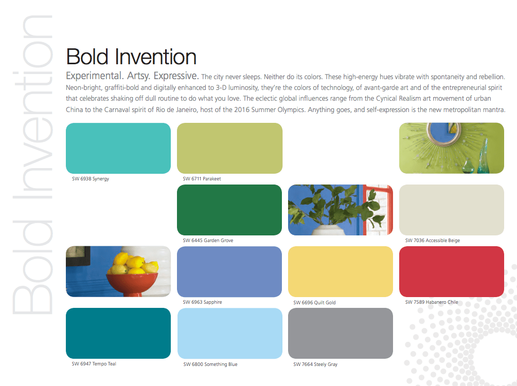 Sherwin Williams Bold Invention Collection