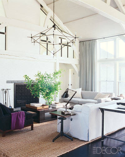 winter decorating, 5 family room decorating tips for a family friendly space, how to add purple, Elle Decor Celebrity Homes: Meg Ryan. Photographer: William Waldron