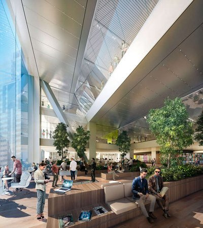 from Philly.com, an artist's rendering of the airy, loft-like interior of the planned new Comcast building. (Foster & Partners)