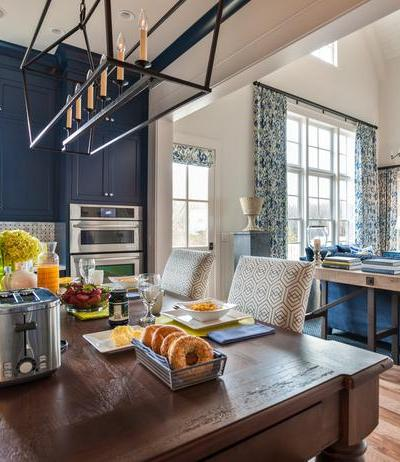 Open Concept kitchens, Blue Kitchen Cabinets