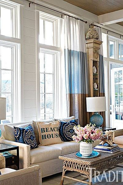 Beachy Blues, Traditional Homes, Sitting Area