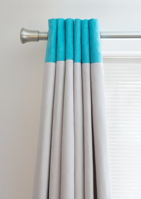 Turquoise Trend 2016 Grommet Drapery with Turquoise Banding at the top