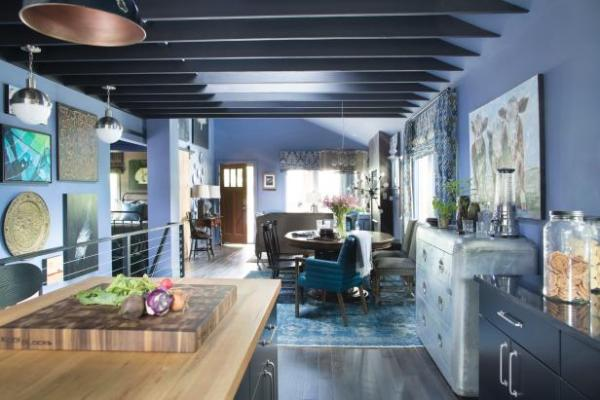 View from the Kitchen into the Living Room, Urban Oasis 2015, Sherwin-Williams 6536 Searching Blue