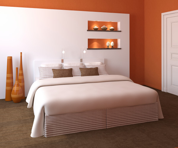 Modern bedroom interior with Orange accent wall