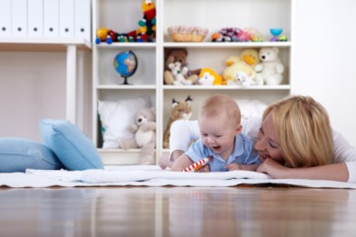 Nursery Decorating, Mother and Baby in Baby's room