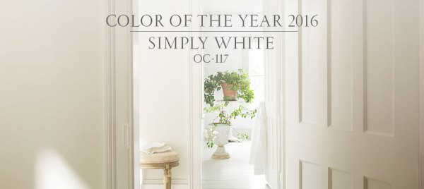 2016 Paint Colors of the Year, Simply White, Benjamin Moore Color of the Year Simply White OC117