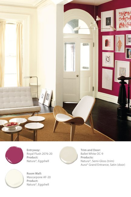 Benjamin Moore: Entryway: Royal Flush 2076-20. Room Wall: Mascarpone AF-20. Trim: Ballet White OC-9.