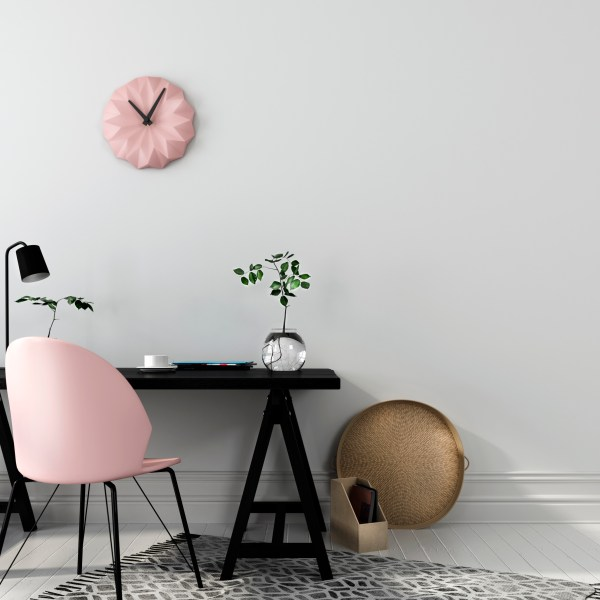 study space, design risk, pink chair, home office