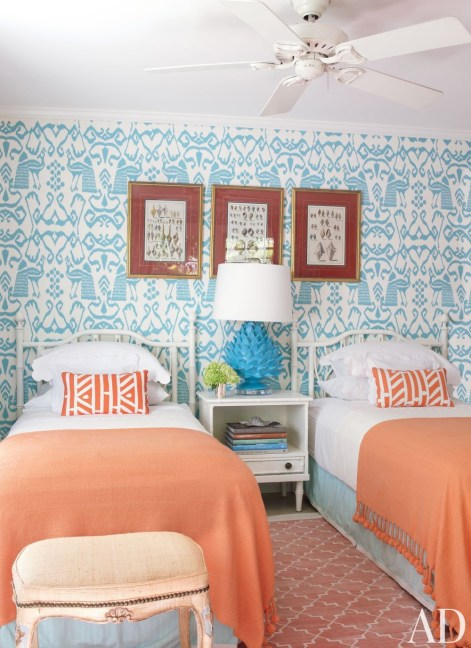 from Architectural Digest, Blue White Coral Bedroom