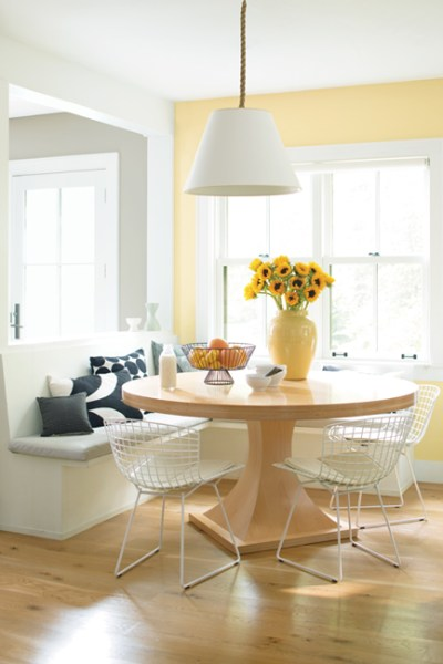 banquettes, wood and white, breakfast nook, Benjamin Moore Hawthorne Yellow HC-4
