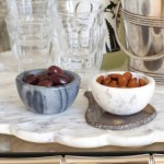 Marble Salt & Pepper Cellars, Scallop Edge Marble Tray, Bistro Glasses Clear