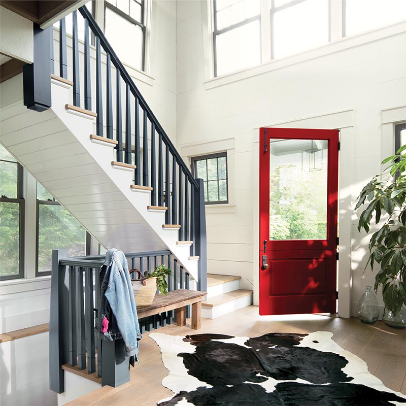 Benjamin Moore, Caliente AF-290, Wolf Gray 2127-40, White Opulence OC-69