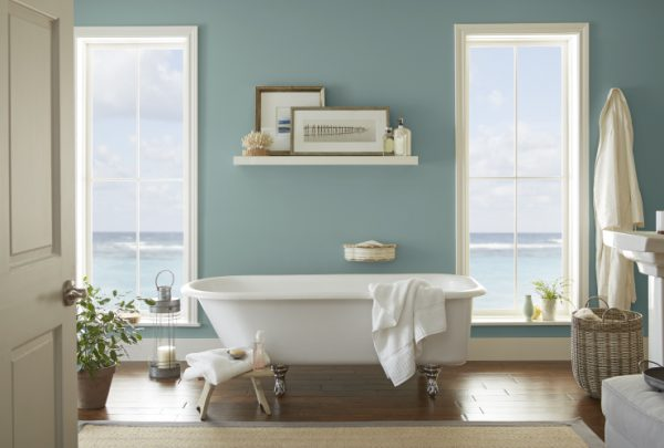 2018 paint colors, Spa-like bathroom, Behr Paint 2018 Color of the Year, In The Moment, Bathroom