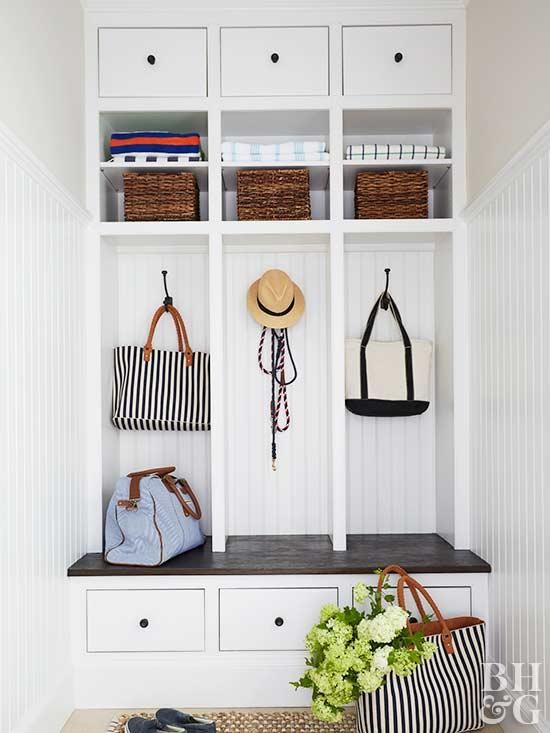 painted cabinetry, mudroom with white paint and storage