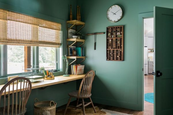 desk ideas, monochromatic rooms, diy network ultimate retreat paint colors