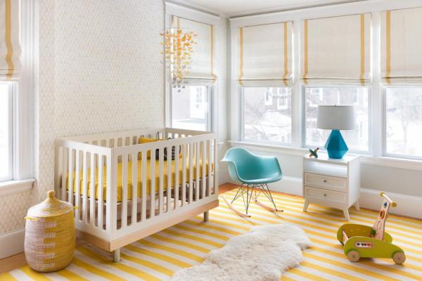 nursery decorating, nursery, yellow, roman shades, white paint