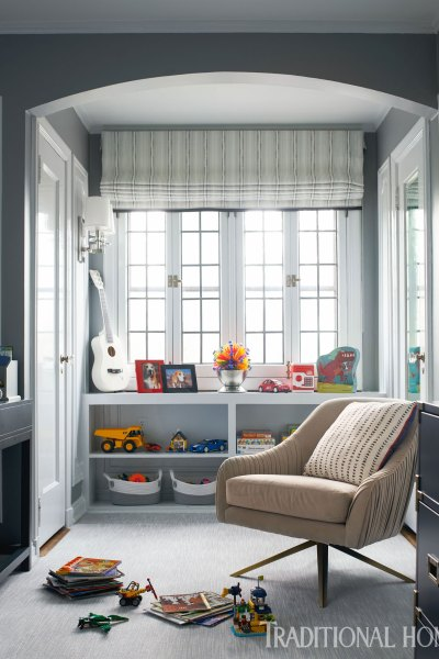 Boys Bedroom, Gray Kids Bedroom, Roman Shade, Toy Storage