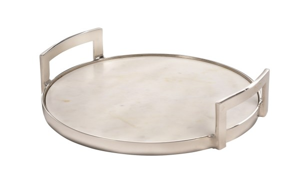Owen, Marble Round Tray with Aluminum Handles, Small