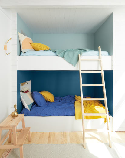 Benjamin Moore Paint, Bunk Bed Room, Kids Bedroom, Paint Colors; Buxton Blue, Blue Danube
