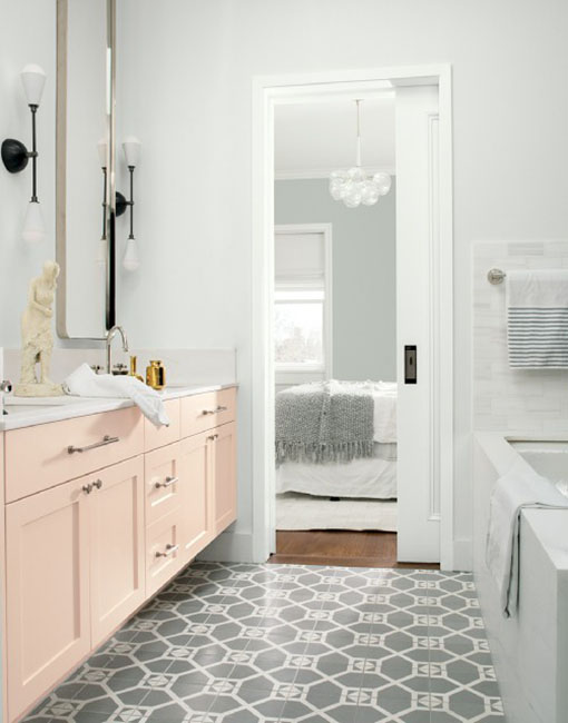 Benjamin Moore, Bathroom, Painted Cabinetry, pink paint color, white paint color