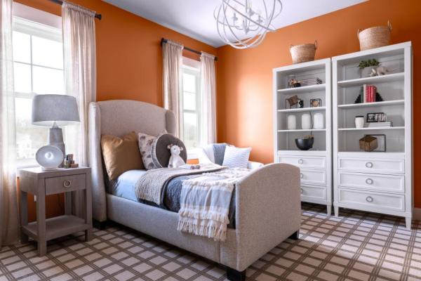 Cozy Decor Basics, Kid's Bedroom, Orange Paint Color, upholstered bed, storage bookcases, draperies