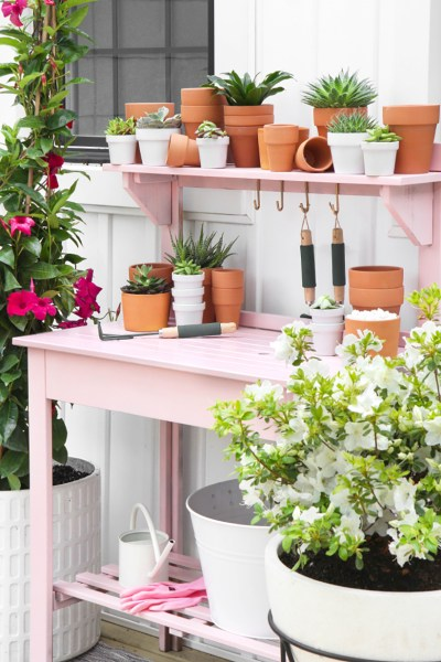 DIY potting bench, pink paint, gardening, pink potting bench