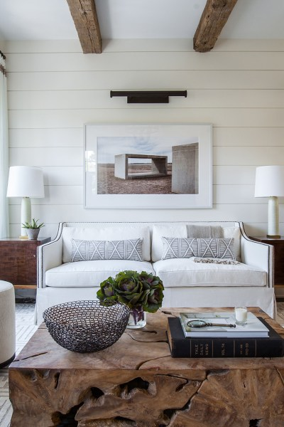Living Room, Shiplap Wall Paint Benjamin Moore: Cloud White, Photo Julie Soefer