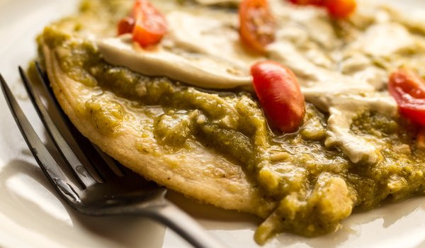 image of Jackfruit Verde by intentionally eat with Cindy Newland on a Homemade Corn Tortilla with Spicy Cashew Cheese