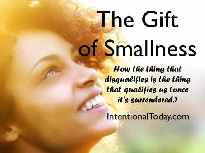 The gift of smallness: how God can be much in our lives when we give Him room