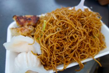 Chow mein and dumplings