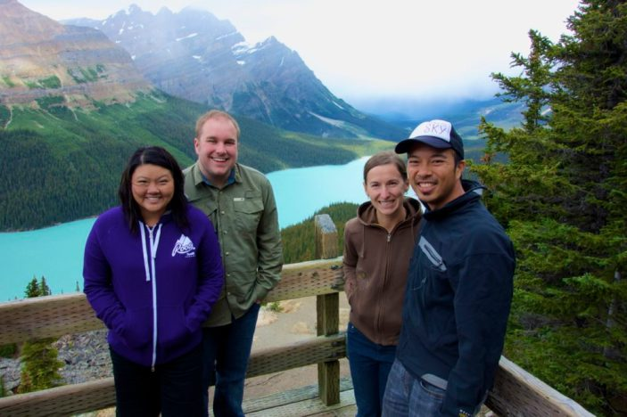 Meeting up with college friends in Banff