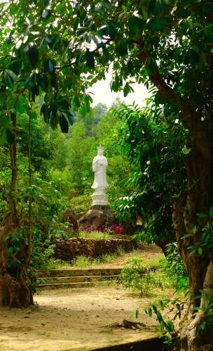 Peaceful garden at the temple