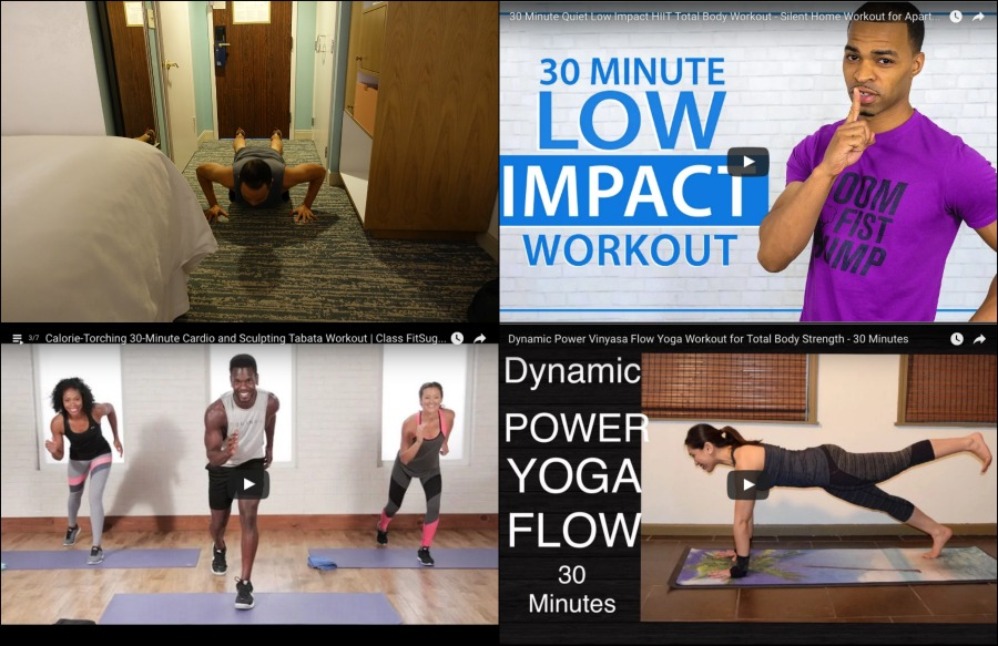 Top youtube work out videos for travel - bodyweight only, no equipment, quiet work outs | Intentional Travelers