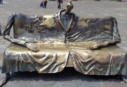 Bench outsidethe Hospicio Cabañas.